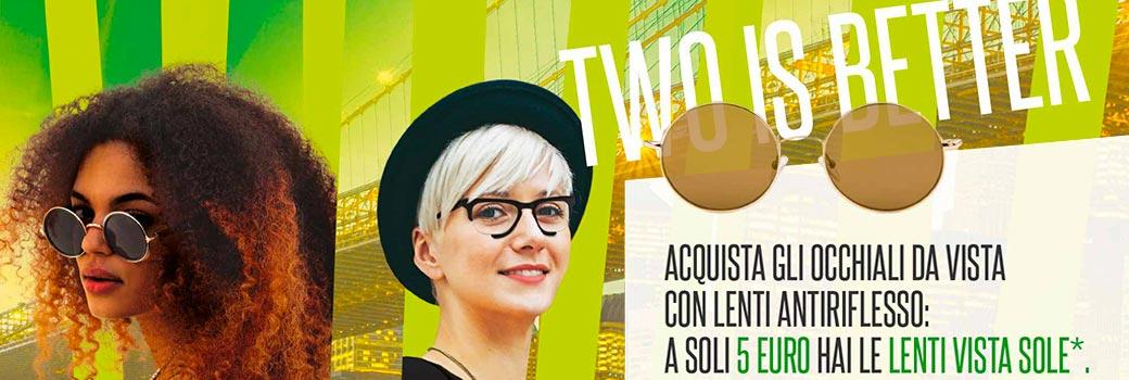 Two is better. Nuova Promo di Ottica Solfa in collaborazione con il gruppo OXO.